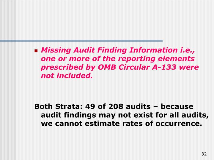 Missing Audit Finding Information i.e., one or more of the reporting elements prescribed by OMB Circular A-133 were not included.