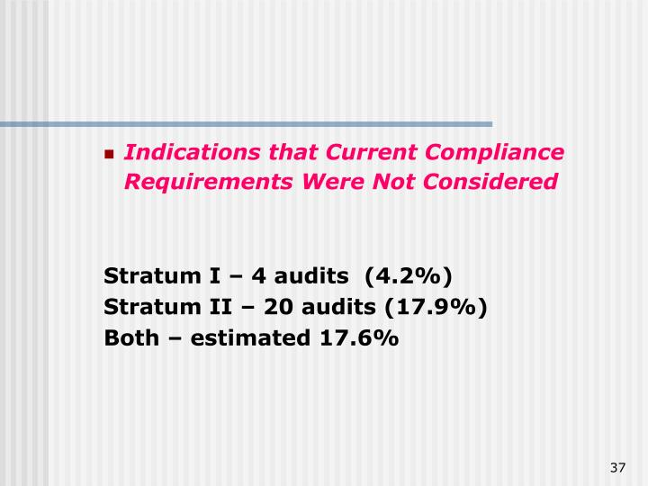 Indications that Current Compliance Requirements Were Not Considered