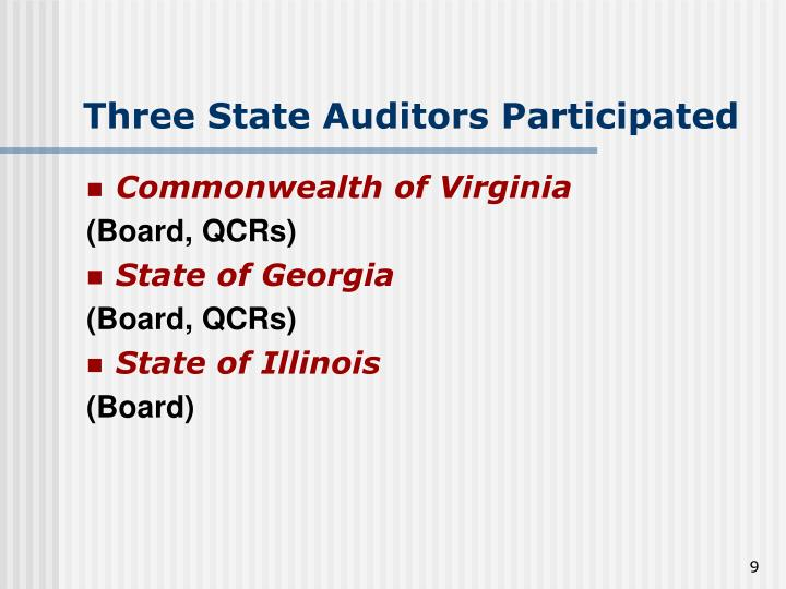 Three State Auditors Participated