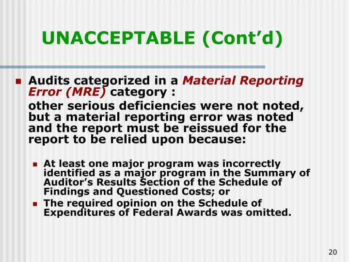 UNACCEPTABLE (Cont'd)
