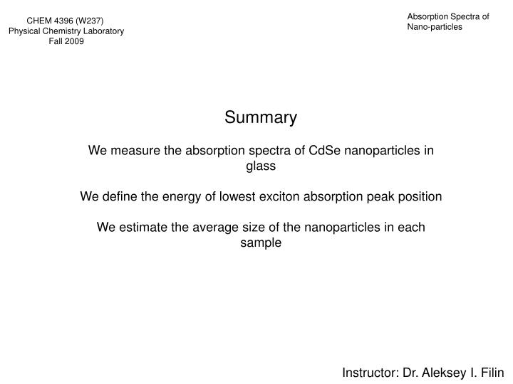 Absorption Spectra of