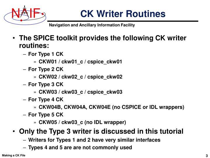 CK Writer Routines