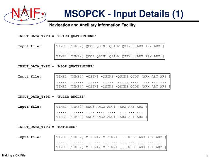 MSOPCK - Input Details (1)