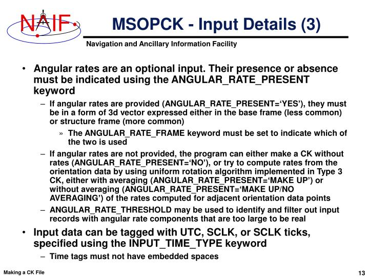 MSOPCK - Input Details (3)