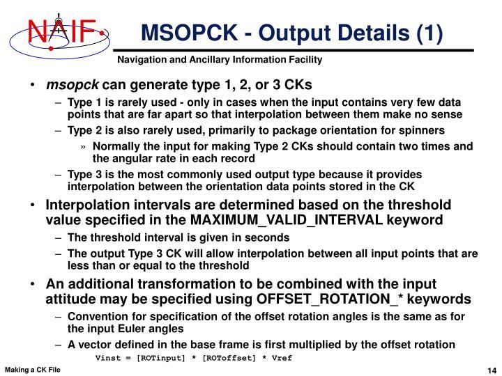 MSOPCK - Output Details (1)