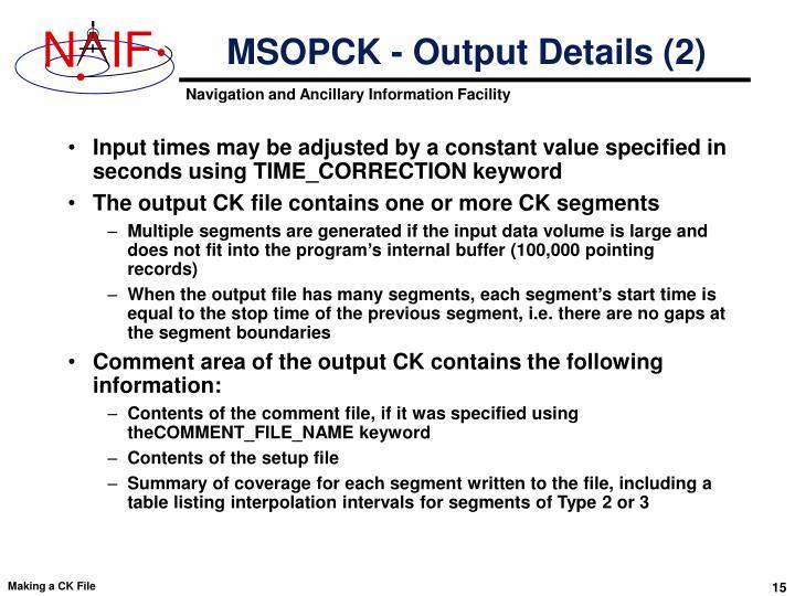 MSOPCK - Output Details (2)