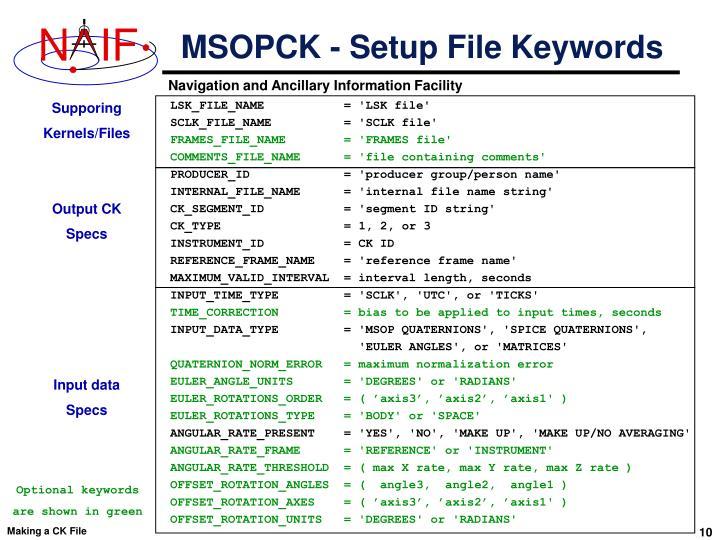 MSOPCK - Setup File Keywords