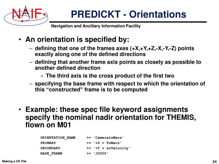 PREDICKT - Orientations