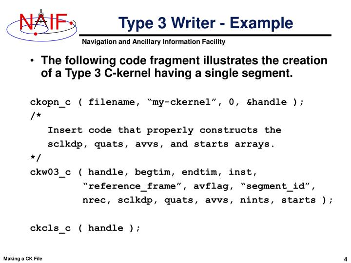 Type 3 Writer - Example