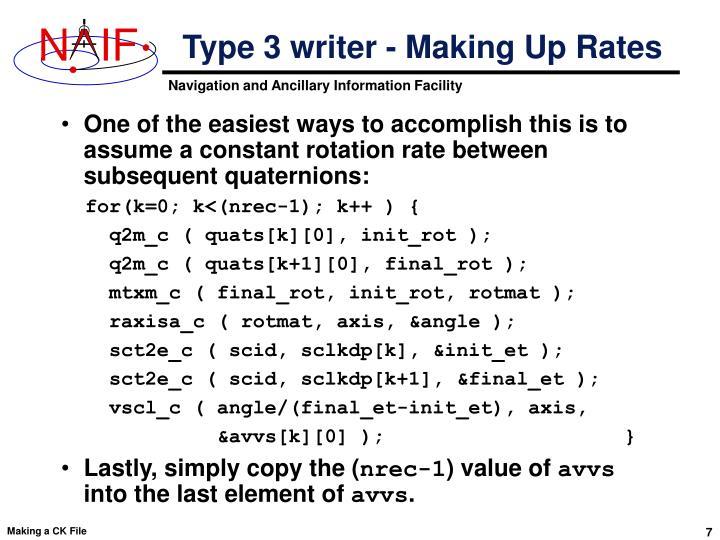 Type 3 writer - Making Up Rates