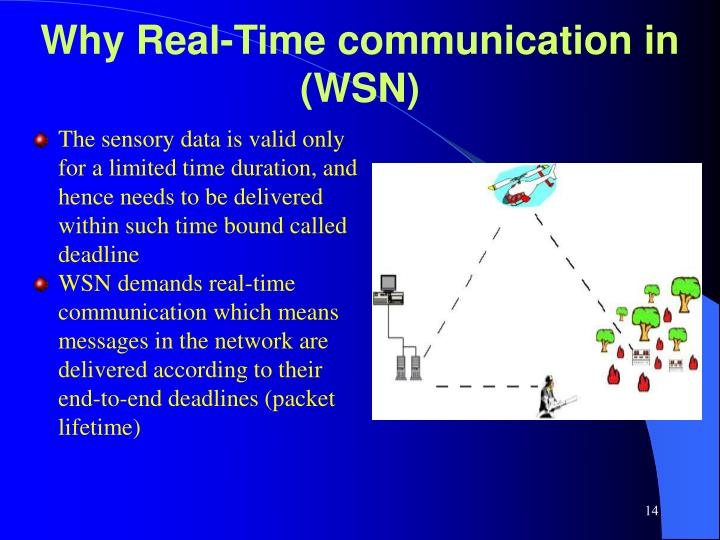 The sensory data is valid only for a limited time duration, and hence needs to be delivered within such time bound called deadline