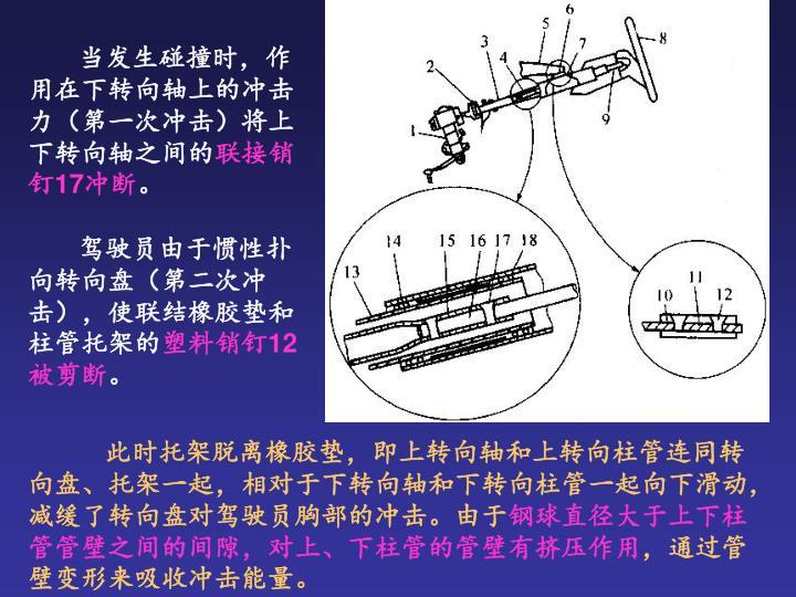 当发生碰撞时,作用在下转向轴上的冲击力(第一次冲击)将上下转向轴之间的