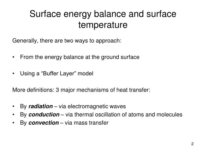 Surface energy balance and surface temperature1