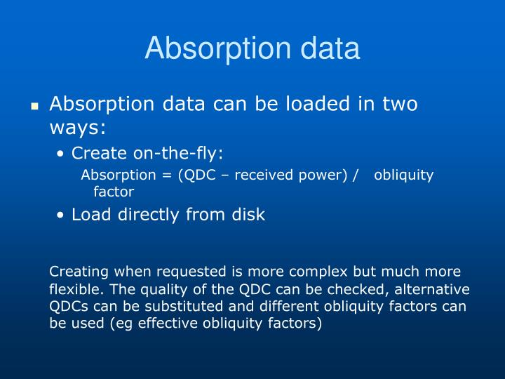 Absorption data
