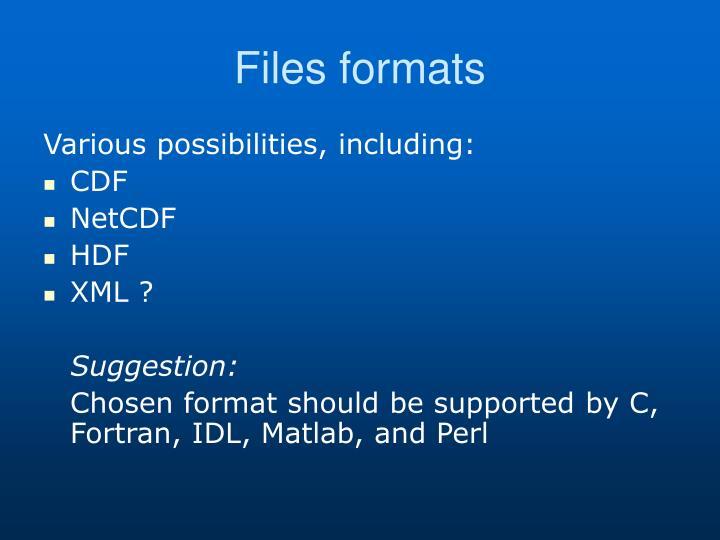 Files formats