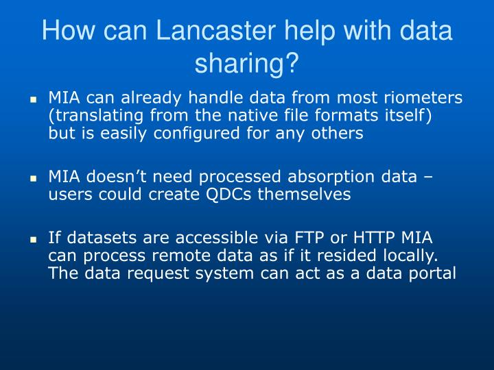 How can Lancaster help with data sharing?