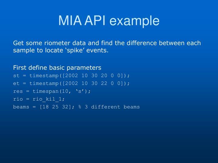 MIA API example