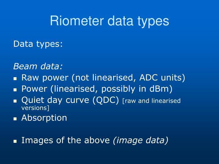 Riometer data types