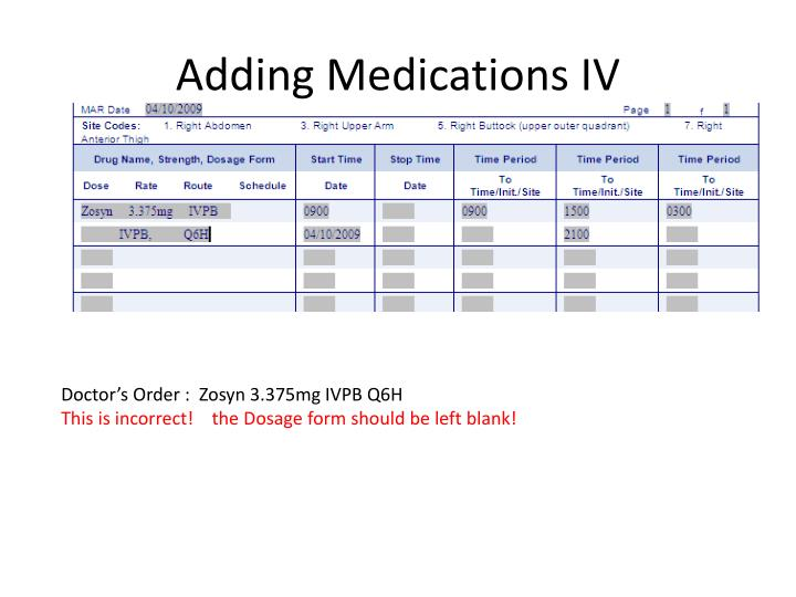 Adding Medications IV
