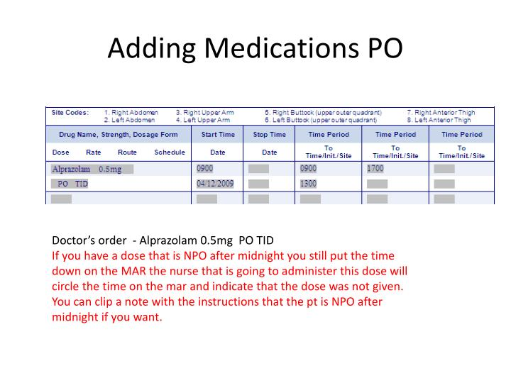 Adding Medications PO