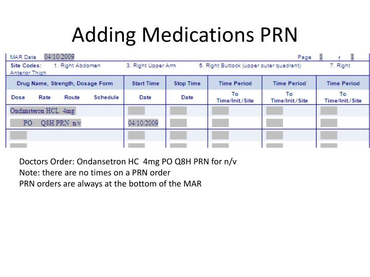 Adding Medications PRN