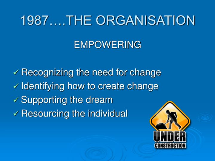 1987….THE ORGANISATION