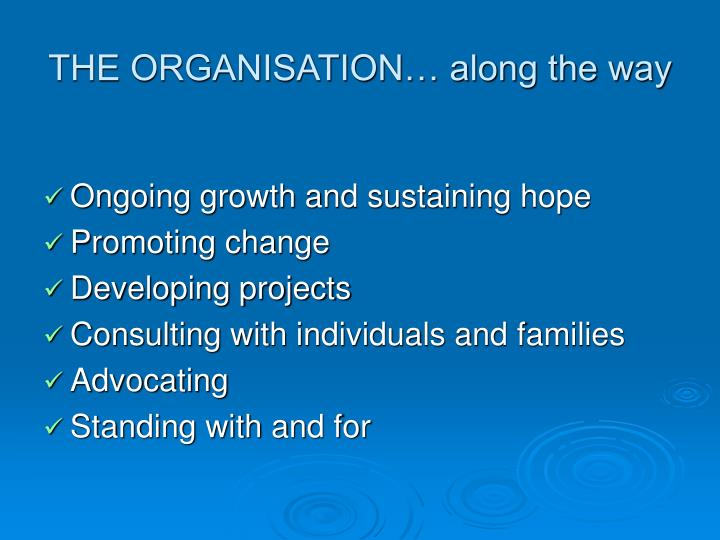 THE ORGANISATION… along the way