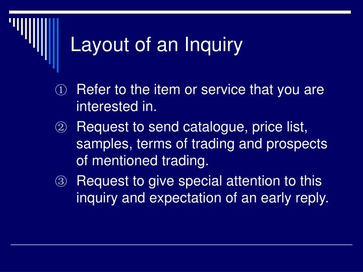Layout of an Inquiry