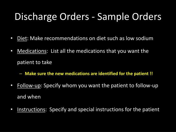 Discharge Orders - Sample Orders