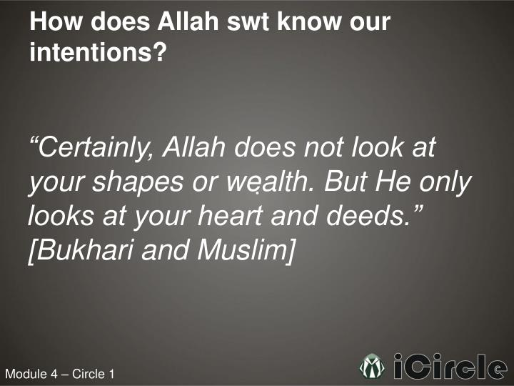 How does Allah swt know our intentions?
