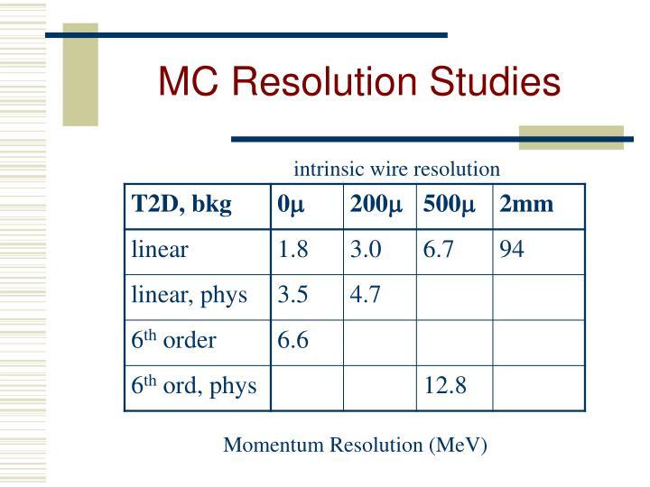 MC Resolution Studies