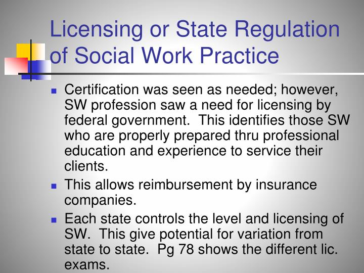 Licensing or State Regulation of Social Work Practice