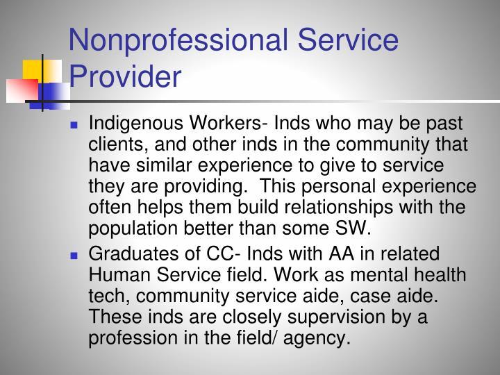 Nonprofessional Service Provider