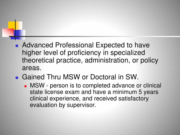 Advanced Professional Expected to have higher level of proficiency in specialized theoretical practice, administration, or policy areas.