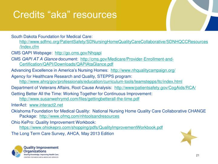 "Credits ""aka"" resources"