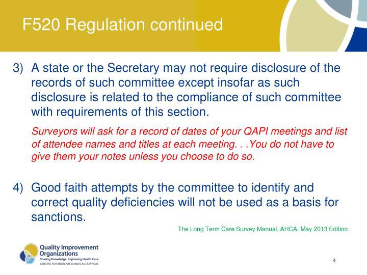 F520 Regulation continued