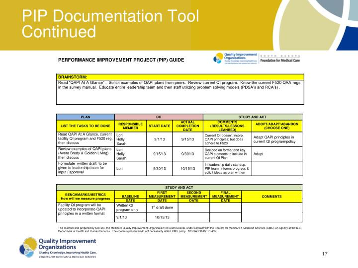 PIP Documentation Tool Continued