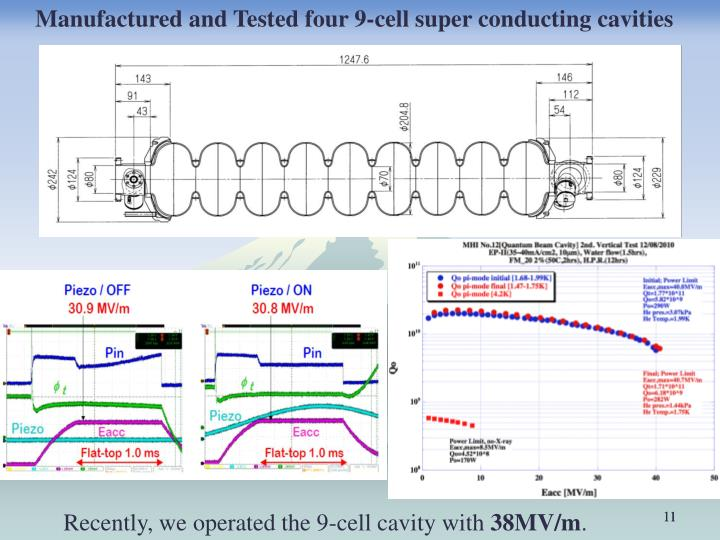 Manufactured and Tested four 9-cell super conducting cavities