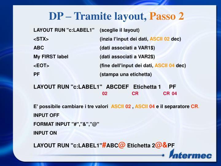 DP – Tramite layout,