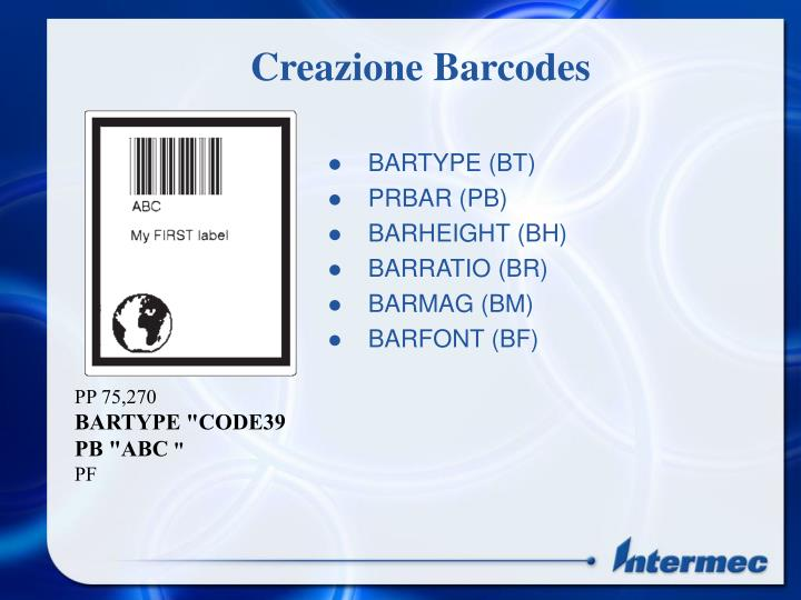 Creazione Barcodes