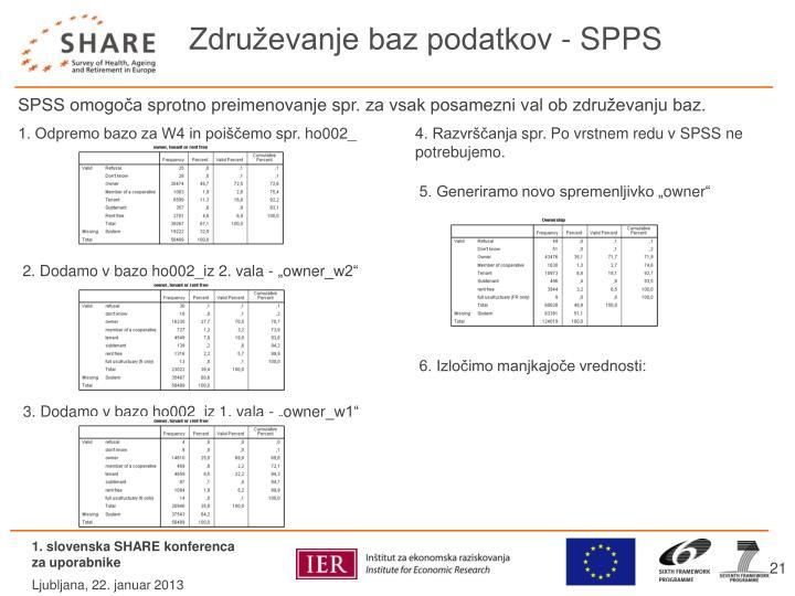 Združevanje baz podatkov - SPPS