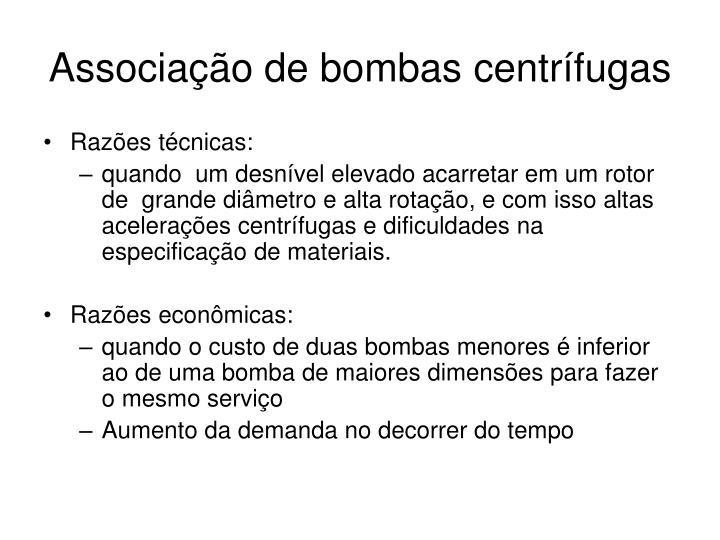 Associação de bombas centrífugas