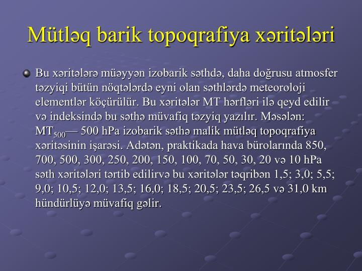 Mütləq barik topoqrafiya xəritələri
