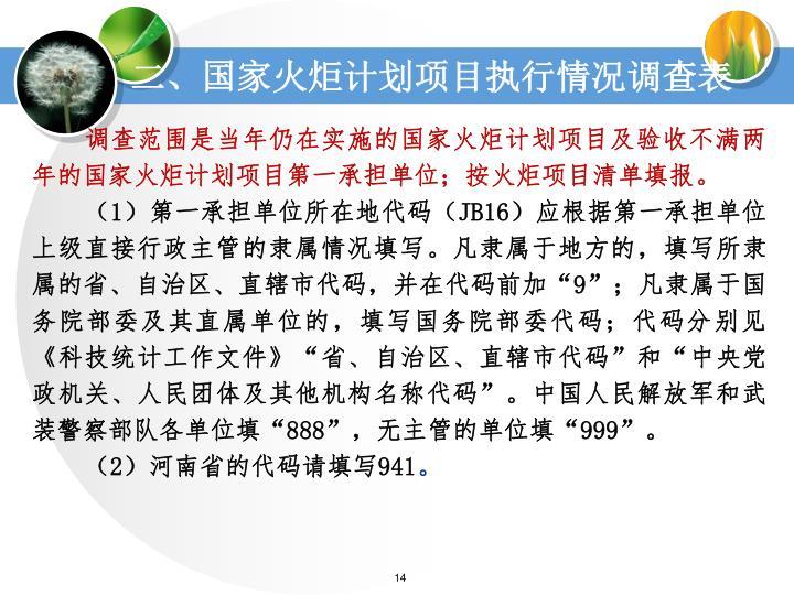 二、国家火炬计划项目执行情况调查表