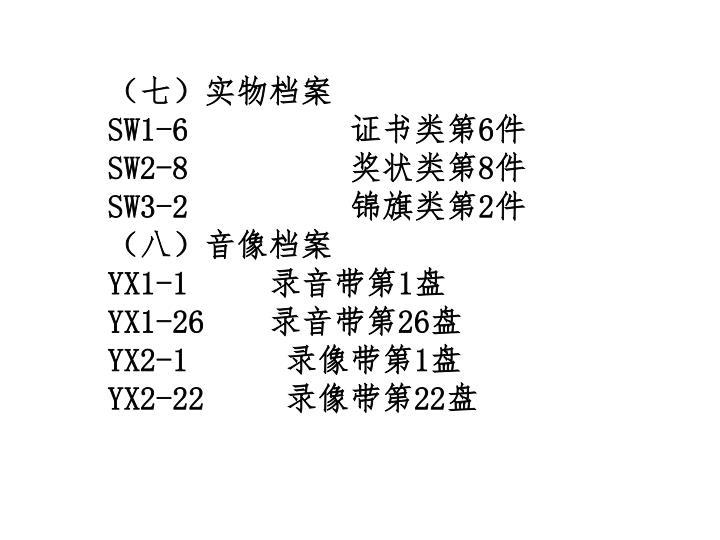 (七)实物档案