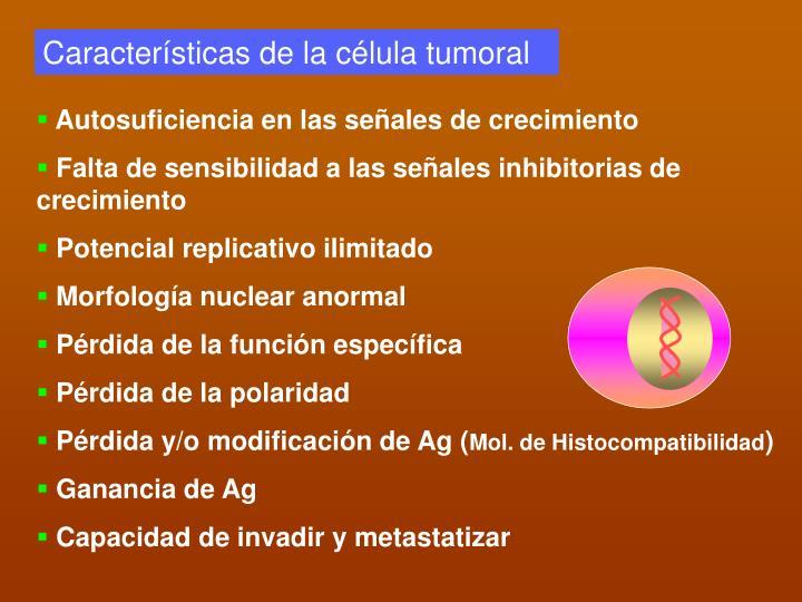 Características de la célula tumoral