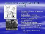 warren g harding rep 1921 1923