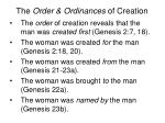 the order ordinances of creation