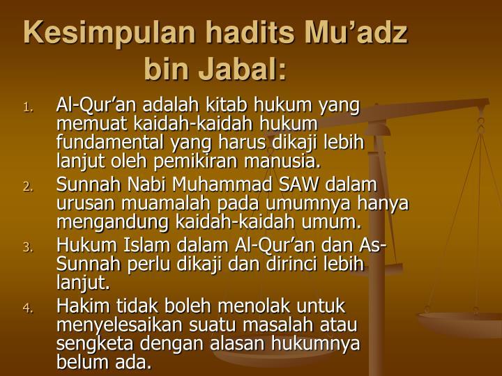 Kesimpulan hadits Muadz bin Jabal: