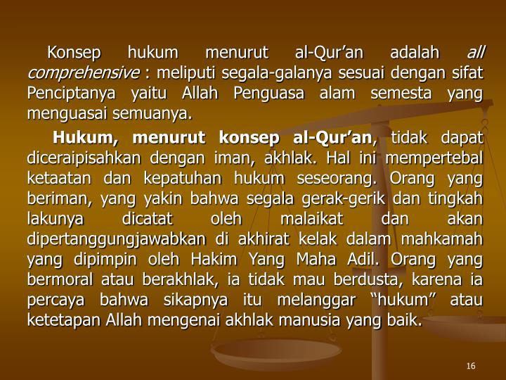 Konsep hukum menurut al-Quran adalah